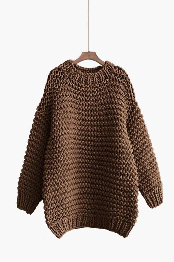 8f88ec05343 Hand knit oversized woman sweater Crew neck slouchy wool navy ...