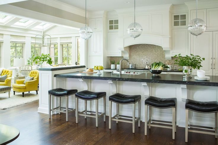 Transitional Kitchen with High ceiling, Soapstone counters, Glass panel…