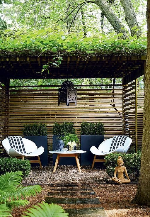 Zen Garden Features A Pergola Over A Pair Of White Modern Chairs And Outdoor  Accent Table · Backyard SeatingBackyard IdeasGarden ...