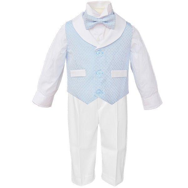 Baby Boys Blue & White Diamond 4 Piece Bow Tie Suit