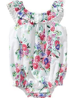 Floral Bubble Rompers for Baby
