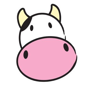 Cute Cow Clipart — Simple vector illustration of a cute cow head. The cow says, Moo! .:. My-Free-Vector-Art.com .:.
