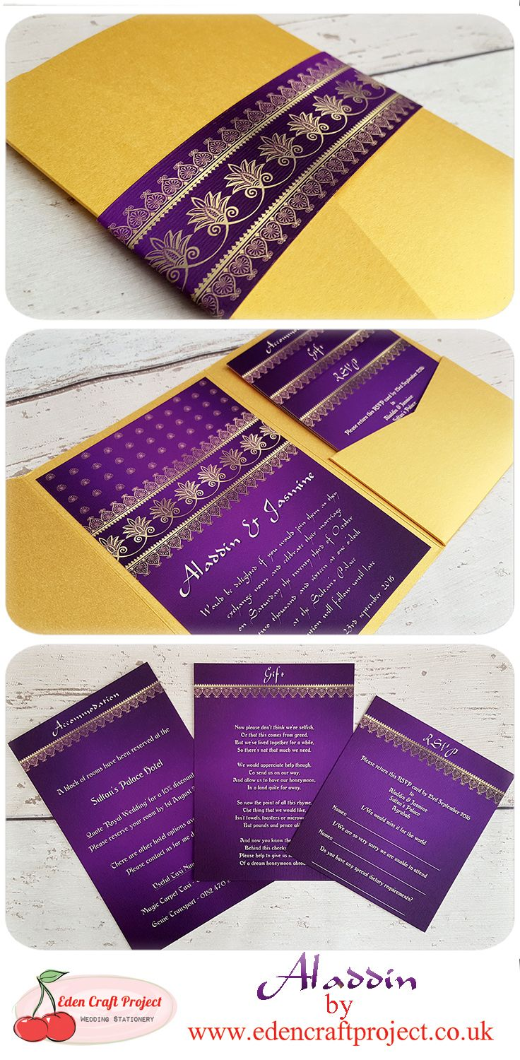The Disney Inspired Aladdin Pocketfold Wedding Invitation. Perfect for destination, travel, glamour, disney, fairytale, gold, romance, indian, traditional theme weddings.