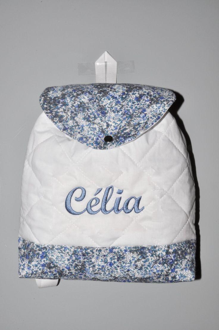 sac à dos enfant liberty personnalisé brodé pour cadeau naissance,baptême,crèche,maternelle : Sacs à dos, cartables par lbm-creation