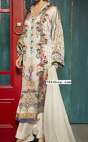 Off-white Satin Suit (2 Pcs) | Buy Sapphire Pakistani Dresses and Clothing online in USA, UK