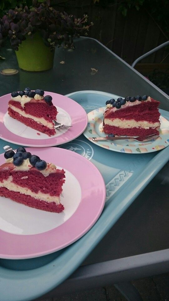 Home made red velvet with cream & berries