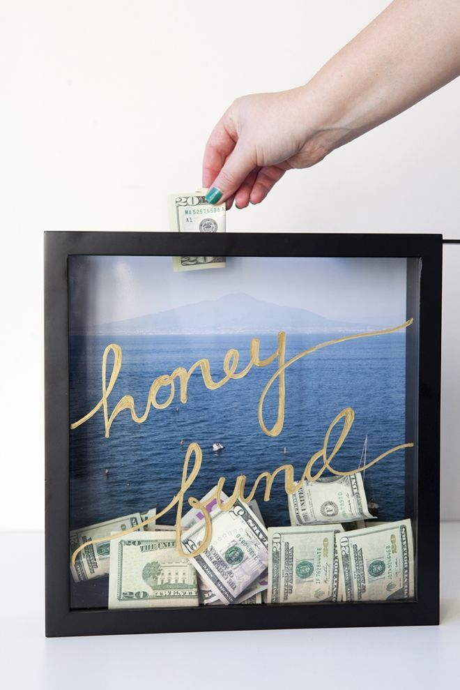 "How to make a ""honeymoon fund"" shadowbox savings frame! Either keep this in your house to remind yourself to save or put it out at your #reception and have your friends and family help out!"