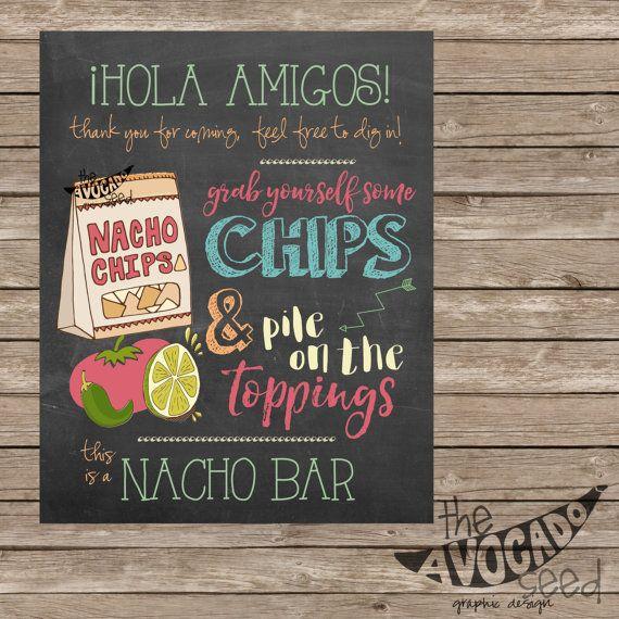 Chalkboard Nacho Bar Sign - DIY Printing - INSTANT DOWNLOAD - 2 Sizes