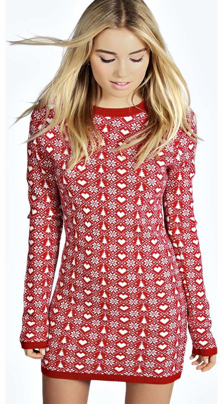 Christmas dress casual - Boohoo Bella Heart And Snowflake Christmas Jumper Dress No Off Duty Wardrobe Is Complete Without