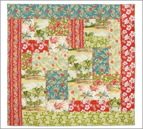 This is Pottery Barn, but I think it would be cool to thrift a bunch of hawaiian shirts to make a quilt!
