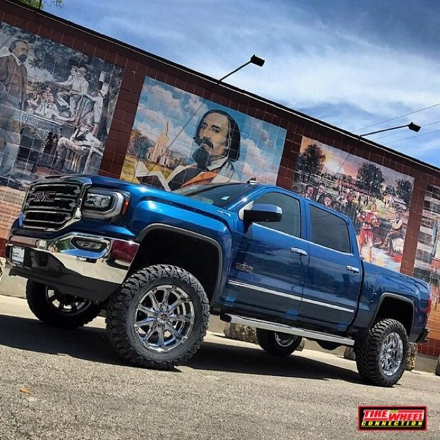 """True Blue making its debut....2016 Sierra 1500 6"""" @zoneoffroadproducts lift 20"""" @kmcwheels  XD Badland wheels 35"""" MT tires  Check out one of our locations near you or Call and we will ship them to you.  Houston, Tx (281) 890-8473, Tomball, TX (281) 351-8473, New Braunfels (832) 624-2700, Hondo, Tx (830) 426-8473  #ford #superduty #motometal #toyotires #zoneoffroad #fuel #xdwheels #powerhorse #beast #offroad #truck #trucklife #trucks #truckporn #truckdaily #2016 #wheels #radartires #kmcwheels…"""