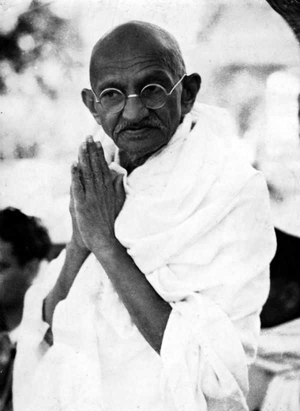 Remembering Gandhi – Portraits of Mahatma/  Mahatma Gandhi, as you know, walked barefoot most of the time, which produced an impressive set of calluses on his feet. He also ate very little, which made him rather frail and, with his odd diet, he suffered from bad breath. This made him (Oh, man, this is so bad, it's good) a super calloused fragile mystic hexed by halitosis. (Thanks for this, Deb.)