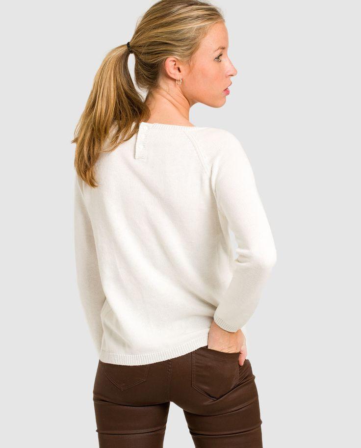 Jersey de mujer Naf Naf blanco con cinta bordada · Naf Naf · Moda · El Corte Inglés