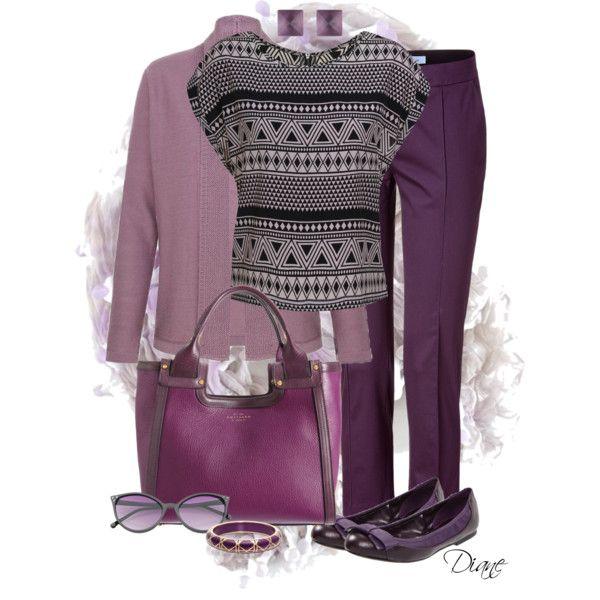 Purple Pants by diane-hansen on Polyvore featuring мода, Eastex, Blumarine, Jessica Simpson, Smythson, Alexis Bittar, Yuh Okano, ballet flats, wayfarer sunglasses and peg leg trousers