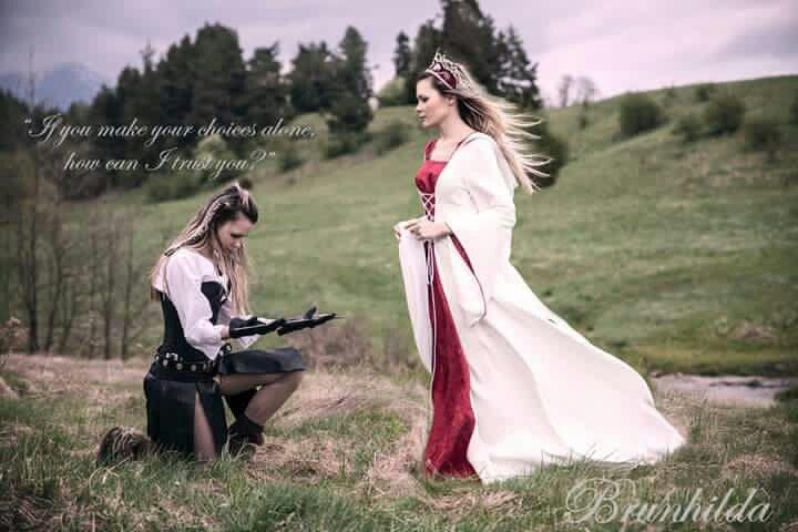 Queen Brunhild medevial fantasy dress sword