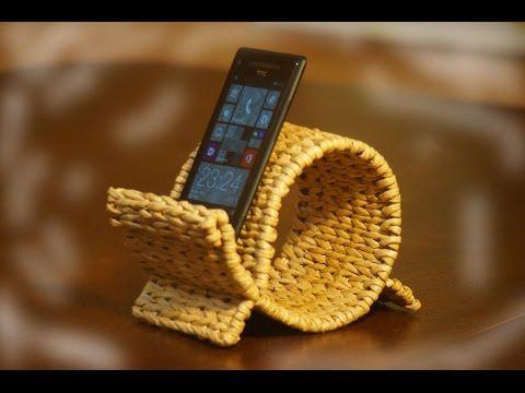 Подставка для мобильного телефона нестандартной формы. Часть 4. - Плетение из газет