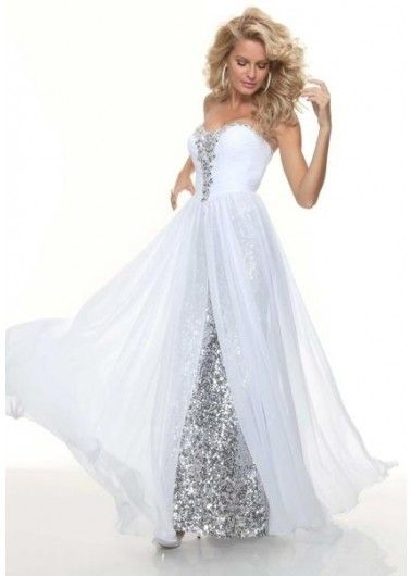 Sheath sweetheart long White sequined flowy prom dress with beadingProm Evening Dresses