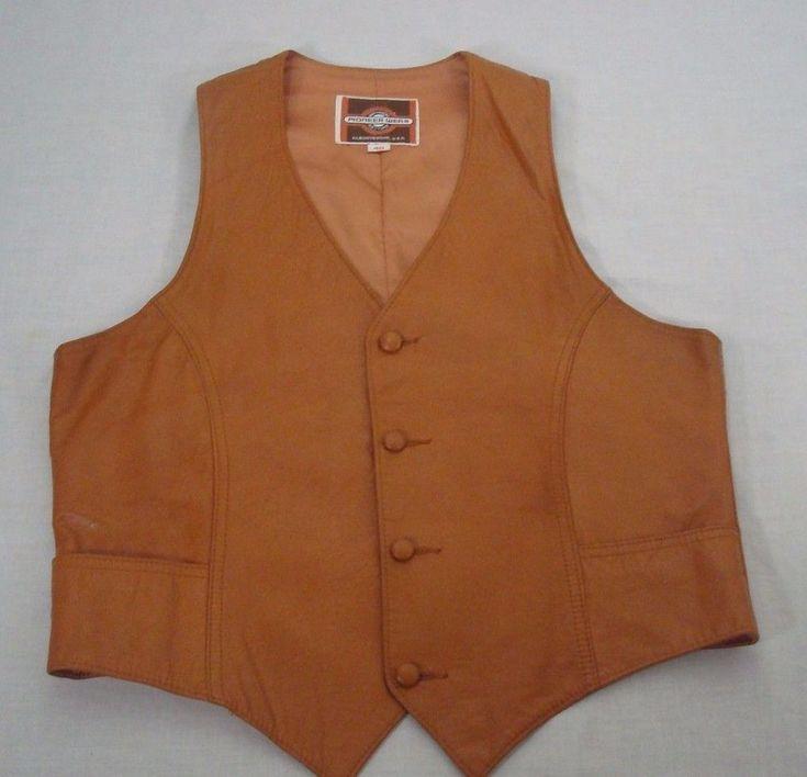 Pioneer Wear Leather Vest Mens Size 40 Dark Tan 4 Button Front USA Made #PioneerWear