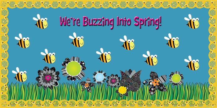 Classroom Door Decoration Ideas For Summer ~ We re buzzing into spring bulletin board idea summer