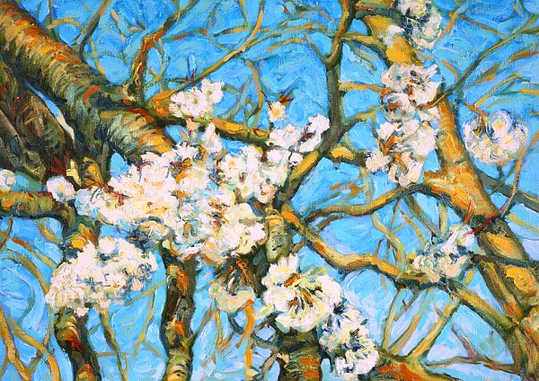 """Blooming Labyrinth"". Cherry tree in bloom. Oil painting by Dusan Balara"
