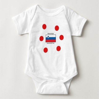 Slovenian Language And Slovenia Flag Design Baby Bodysuit - individual customized unique ideas designs custom gift ideas