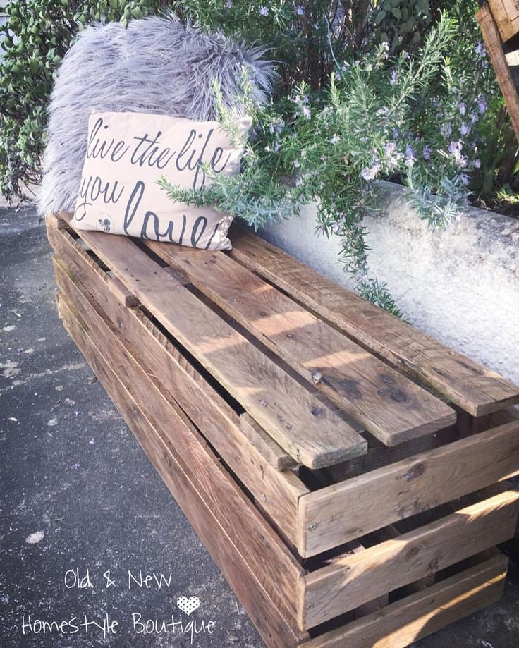 I've made this pallet bench & table exactly the same way as the shelf but without the shelves....all you do is literally cut the pallet into 3 & glue & screw into place then finished off with a dark stained varnish...the first of many garden projects