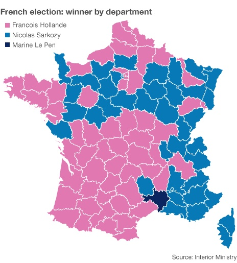 Departmental Breakdown Of First Round 2012 French Presidential Election
