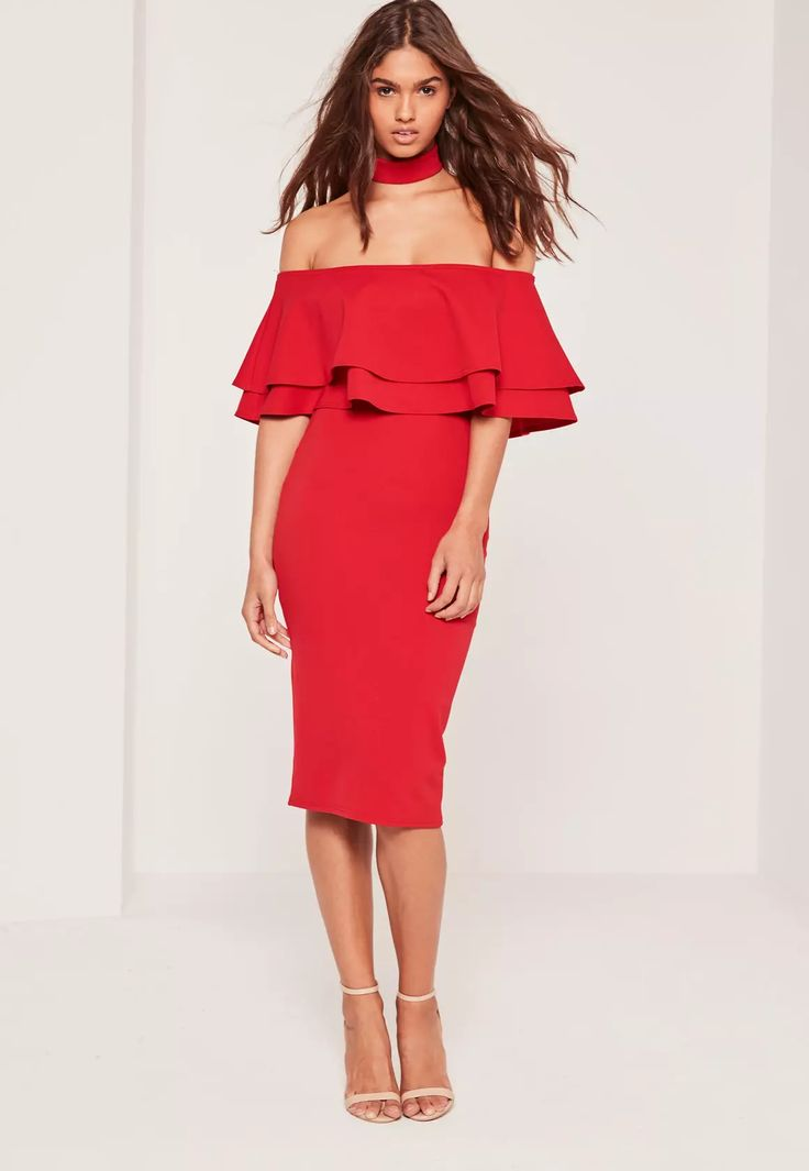 Standout in this all red bardot choker midi dress. Featuring frill detail and on trend choker style - this 2 in 1 beaut is a must have!