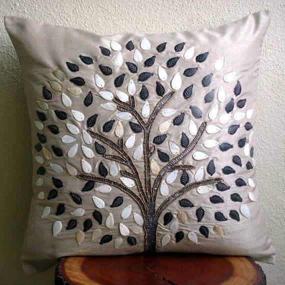 Jogue decorativa fronha Couch Accent Pillow 16x16 polegadas seda fronha madrepérola e paetês bordados Pérola árvore da esperança Cinzento