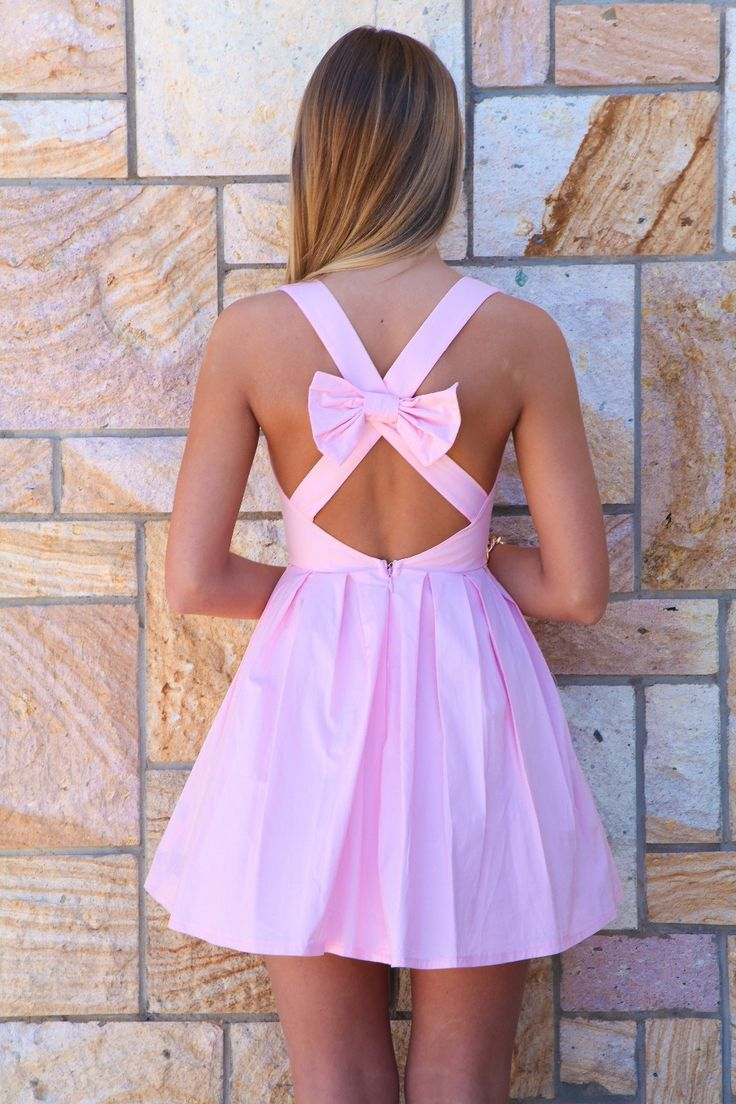Light Pink Bow Back Dress #homecoming! I love this dress! Shaye wore it for the parade