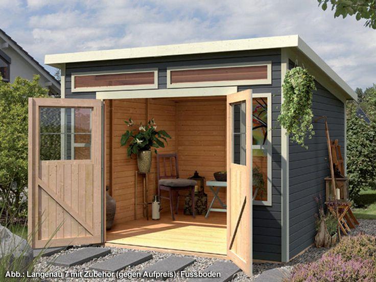 KARIBU Gartenhaus  Langenau 7  19 mm 302 x 306 cm terragrau Pultdach 2 Fenster