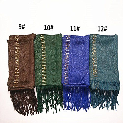 Women gold shiny scarf diamond edge tassels shawls soft gorgeous Muslim hijab woman scarves pashmina hot sale muffler 10pcs/lot material:viscose,cotton Size: length 164cm*width60cm Weight: around136g Packing: Opp bag each scarf A choice of delightful colors (RANDOM...