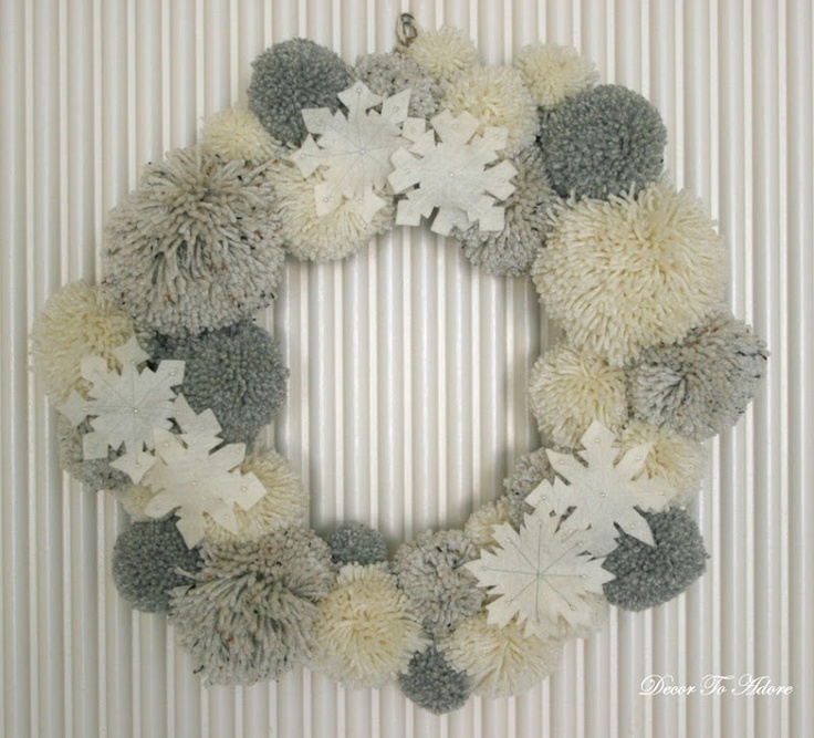 Pom-pom wreath ~Could cover my heart-shaped one in reds/pinks for Vals day, pastel egg shaped for Easter etc... Love these, and pompoms are soooooo much fun to make!!!