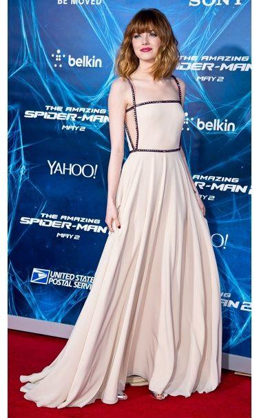 Emma Stone in Prada dress, Sidney Garbr jewelery at The Amazing Spider-Man 2 premiere, New York City