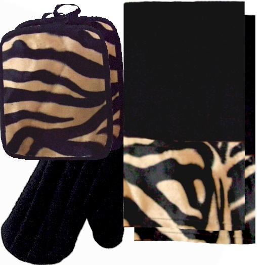 AnythingAnimals.com  Animals Bordering Africa Animal Print Kitchen Linen Set. Black/Mocha Zebra $35