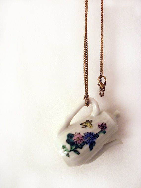 Ceramic Doll's Teapot Necklace by VioletJewelleryCo on Etsy