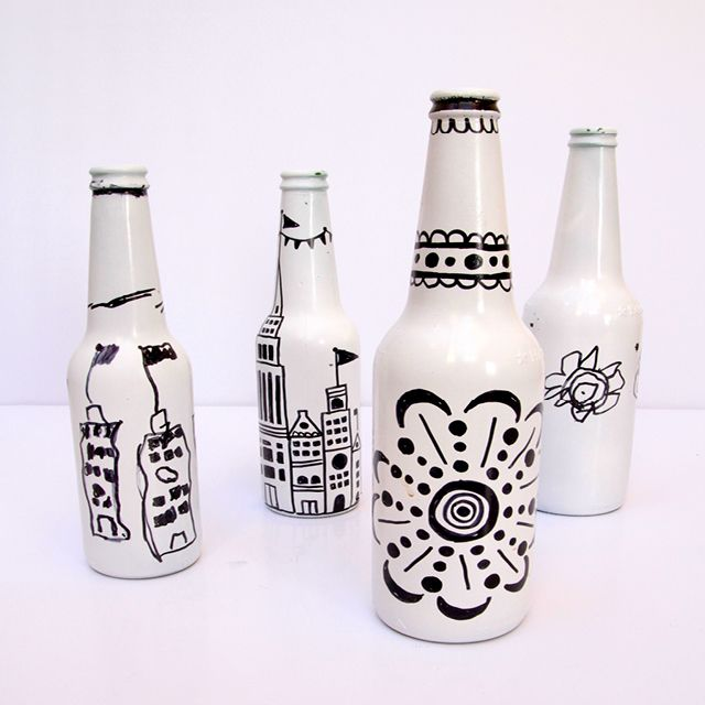 Painted Bottles With Kid's Drawings