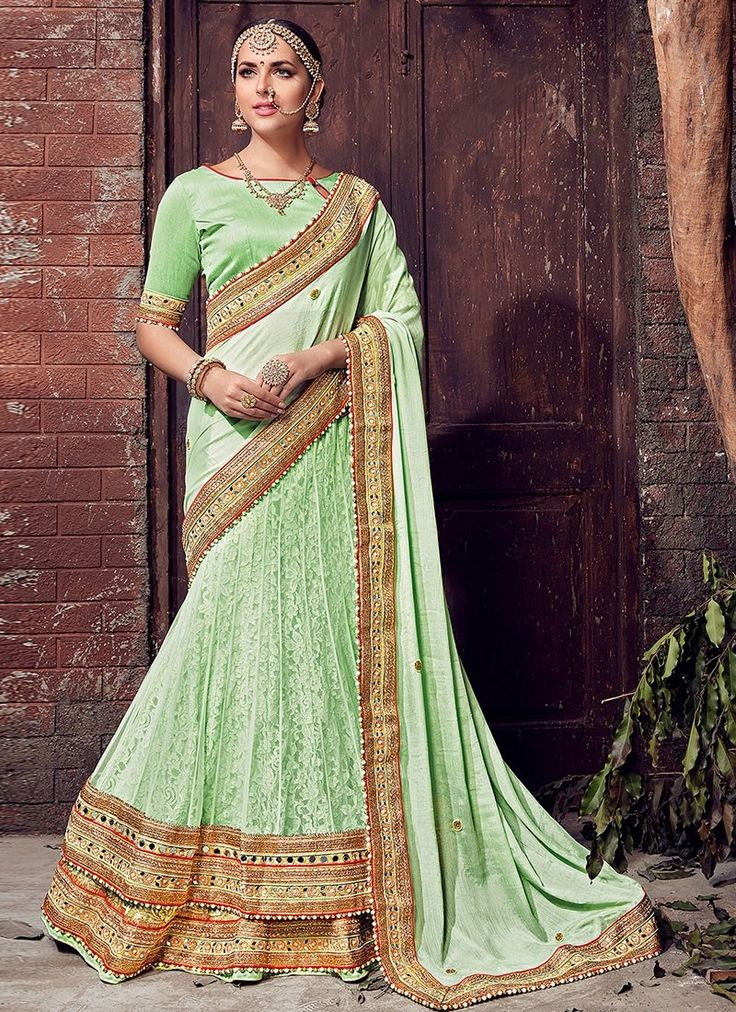 Sea Green Chiffon Net #LehengaSaree