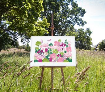 Flora art print from Formstigen2a.se. Colourful flowers. Poster inspired by a summer meadow.