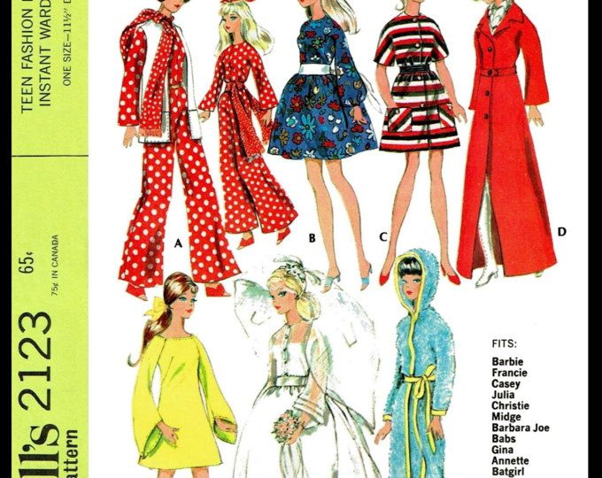 McCall/'s 2123 BARBIE Vintage Fashion Doll Fabric Sewing Pattern Gina Babs Tammy