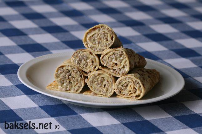 Pannenkoeken met pesto-gehakt-vulling