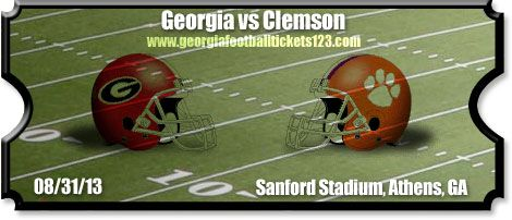 georgia bulldogs vs clemson tigers   vs Georgia Football Tickets   08/31/13   Memorial Stadium   Tigers vs ...