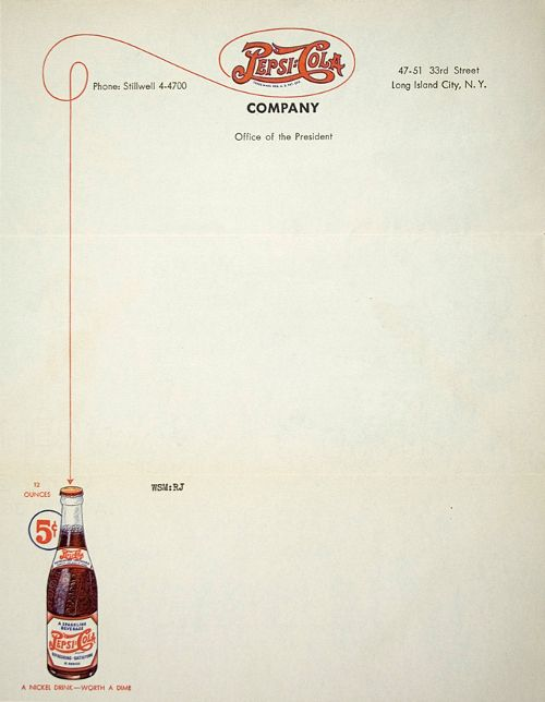 Pepsi vintage letterhead: Vintage Letterhead, Vintage Pepsi, 1941 Letterhead, Letterhead Ideas, Letterhead Design, Graphics Design, Pepsi Cola, Cola Company, Pepsi Letterhead