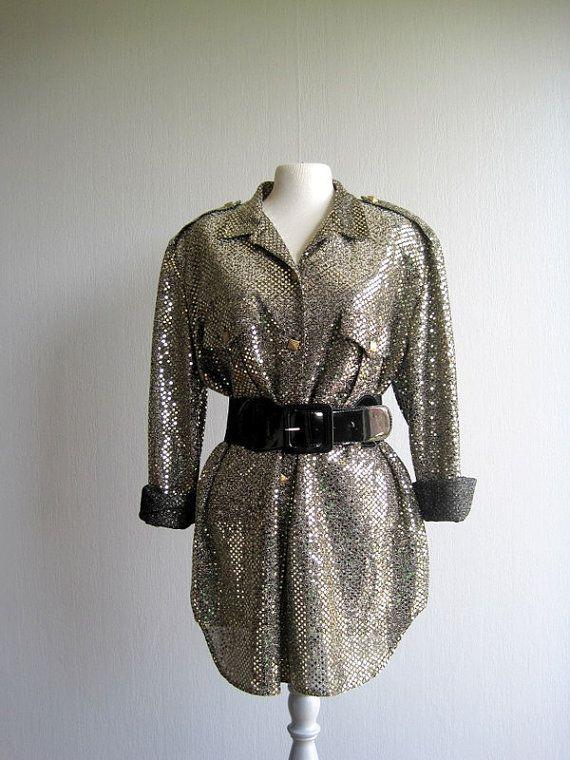 80s Metallic Gold Blouse Medium  Large Bright by woolpleasure, $50.00