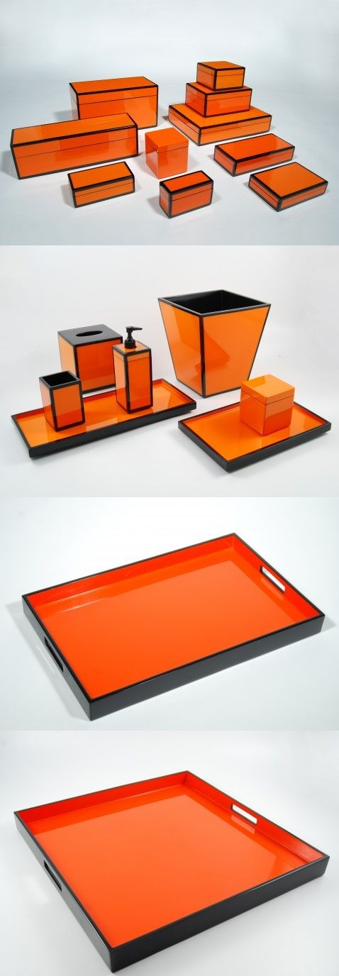 Orange Interior Design Inspirations From: $60 Lacquer Boxes, Trays & Bathroom Accessories, So Beautiful, Sharing Hollywood Luxury Lifestyle Home Decor & Gift Ideas     Courtesy Of InStyle-Decor.com Beverly Hills Enjoy & Happy Pinning #VanityTribe - www.vanitytribe.com