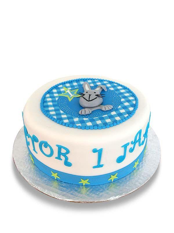 PuurTaart :: Taartengalerij - Verjaardag taart 1 jaar - Konijn - Rabbit Birthday cake