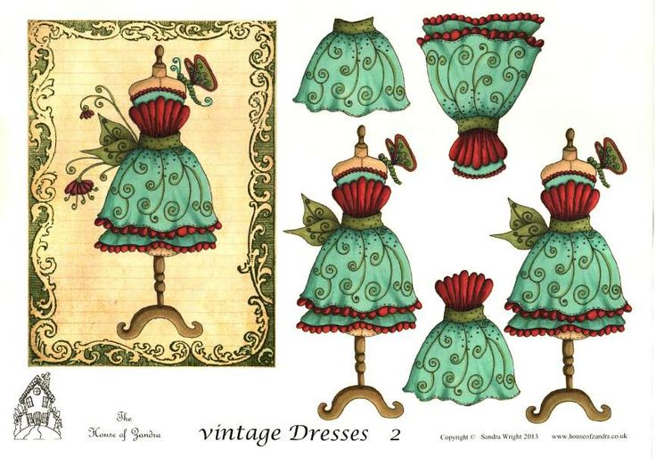 The House of Zandra decoupage - Vintage Dresses 2