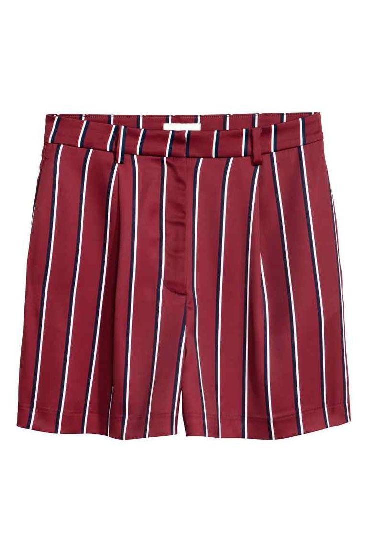 Pantalón corto talle alto - Burdeos/Rayas - MUJER | H&M ES
