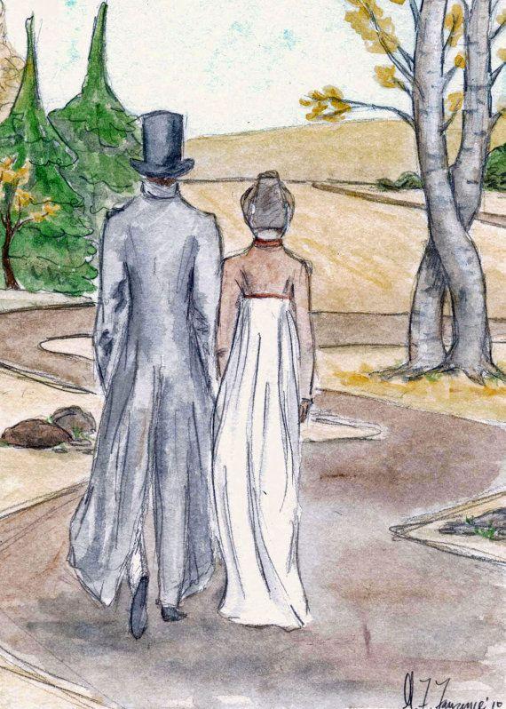 Mr.Darcy und Lizzy 5 x 7 Kunstdruck verloren gehen.  Jane Austen. Stolz und Vorurteil.