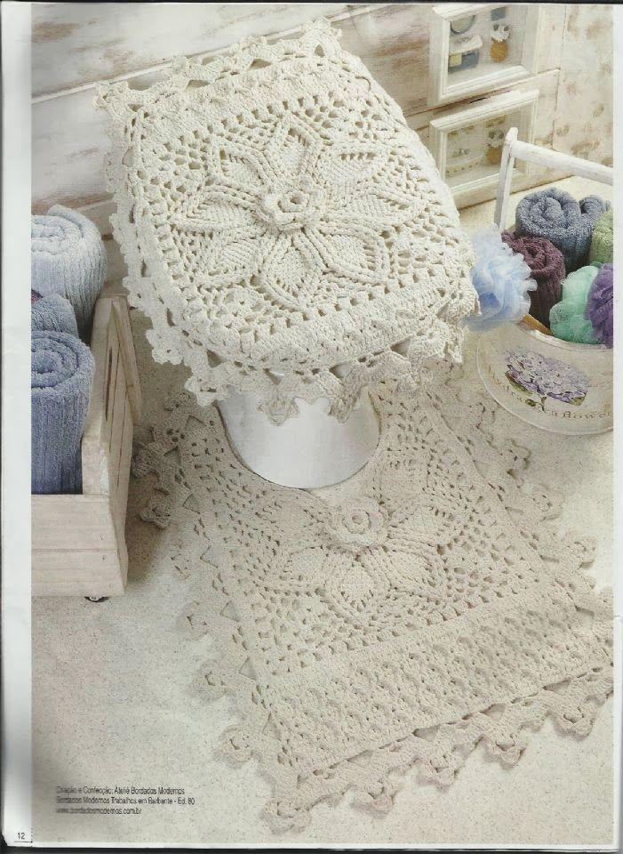 Tecendo e Criando Arte: Jogo de Banheiro de Crochê em Barbante